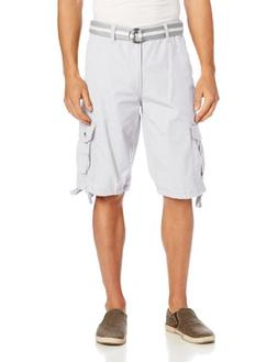 Southpole Men's Belted Ripstop Basic Cargo Short with Washin