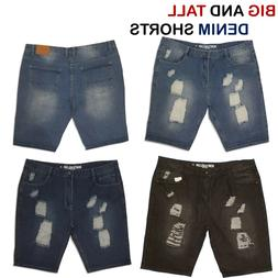 Men's Big and Tall Ripped Off Jeans Shorts Denim Short Pants