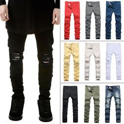Men's Biker Ripped Skinny Jeans Bleached Distressed Frayed S