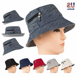 0d013215ad38c Men s Boonie Bucket Hat w  Zipper Cotton Outdoor Summer Fish
