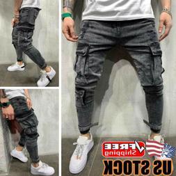 Men's Cargo Combat Jeans Casual Slim Stretch Denim Pants Ski