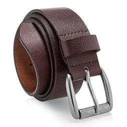 Men's Casual Belt Super Soft Full Grain Leather Brown Size 3