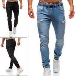 Men's Casual Denim Jeans Jogger Pants Sweatpants Elastic Ski