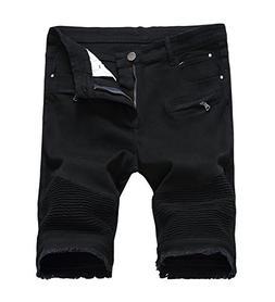 Men's Casual Zipper Biker Jeans Shorts Moto Denim Short Pant