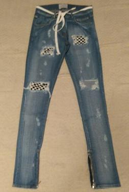 Lakenzie Men's Checkered Slim Denim Jeans SV3 Blue Size XS