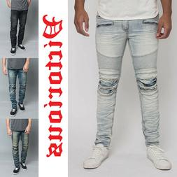 Victorious Men's Creased Washed Moto Denim Pants Biker Jeans