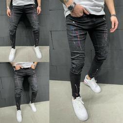 Men's Denim Bib Pants Full Length Jeans Jumpsuit Suspender O