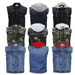 Men's Denim Button Up Distressed Jean Vest With Removable Dr