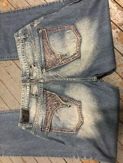 Men's Designer Jeans Mens Jean with Studs Crystal Pockets  R