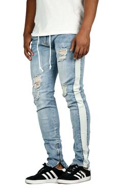 60528fcb71b KDNK Men s Destroyed Striped Ankle Zip Jeans Kayden K