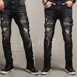 Men's Distressed Ripped Jeans Moto Black Denim Pants Slim Fi