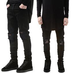 Men's Distressed Ripped Jeans Moto Black Denim Pants Slim Sk