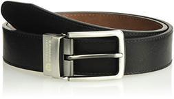 Haggar Men's Dress Casual Vegan Leather Belt, Black/Brown, 3