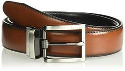 Haggar Men's Dress Casual Vegan Leather Belt, Cognac/Black/T