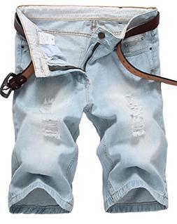 IWOLLENCE Men's Fashion Ripped Distressed Straight Fit Denim
