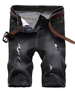 NITAGUT Men's Fashion Ripped Short Jeans Slim Fit Denim Shor