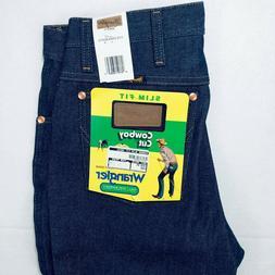 Men's Wrangler Jeans Cowboy Cut 936 Slim Fit Rigid Raw Denim