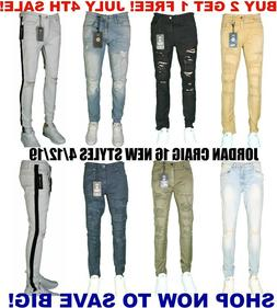 Men's Jordan Craig Biker Jeans Ripped Zippers New SLIM FIT S
