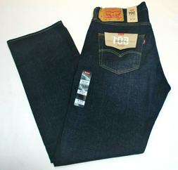 Men's Levi's 501 Dark Blue Stretch Cotton Straight Leg Butto