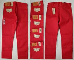 Men's Levi's 501 Original Shrink-to-Fit Jeans Red Button Fly