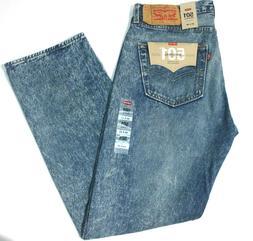 Men's Levi's 501 Stone Age Faded Blue Straight Leg Button Fl