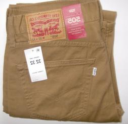 MEN'S LEVI'S 505 JEANS. CARAWAY BROWN. TWILL. CHOOSE SIZE. L