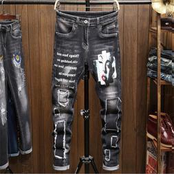 Men's Patch Jeans Pants Long Stretch Fit Printed Letters Com