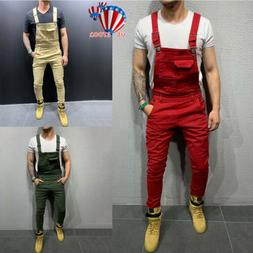 Men's Plain Jeans Dungaree Overalls Pants Trousers Denim Rip