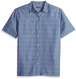 Van Heusen Men's Poly Rayon Short Sleeve Button Down Shirt,