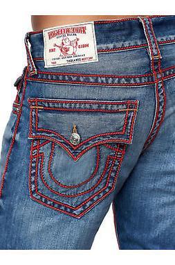 3d6d70f6c True Religion Men s Red Silk Chainstitch Ricky Straight Leg