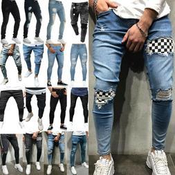 Men's Ripped Jeans Skinny Slim Fit Denim Pants Destroyed Fra