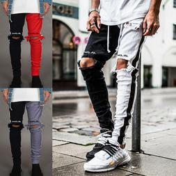 Men's Ripped Jeans Skinny Stretch Slim Straight Pencil Pants