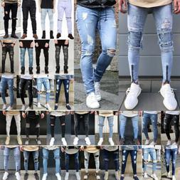 Men's Ripped Jeans Biker Skinny Slim Fit Denim Pants Destroy