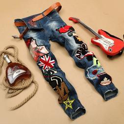 Men's Ripped Skinny Biker Jeans Distressed Slim Fit Denim Tr