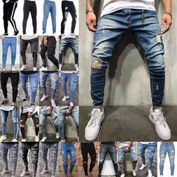 Men's Ripped Skinny Jeans Pants Distressed Slim Fit Biker Ca