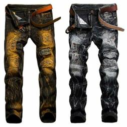 Men's Skinny Biker Jeans Slim Fit Denim Pants Stretchy Rippe
