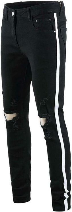 Okilr Pjik Men'S Skinny Distressed Ripped Elastic Jeans Casu