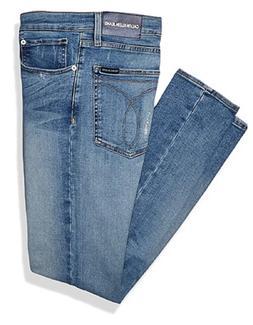 Calvin Klein Men's Skinny Fit Jeans Distressed Waterfall Blu