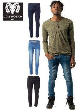 MEN'S Skinny Jean Classic STRETCH MOTO Denim Pants Distresse
