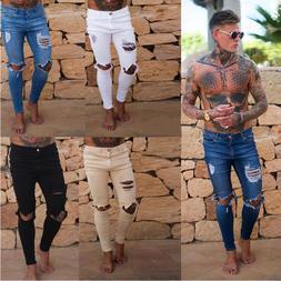 Men's Skinny Jeans Trousers Biker Destroyed Frayed Slim Fit