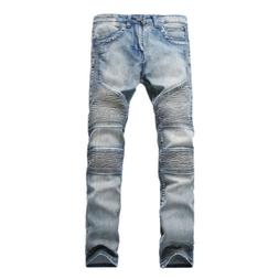 Men's Skinny Ripped Destroyed Distressed Jeans Plain Stretch