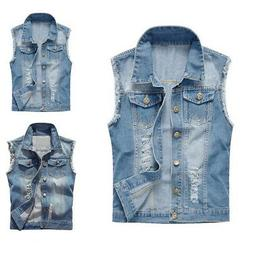 Men's Slim Fit Light Blue Jacket Denim Vest Sleeveless Jean