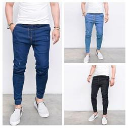 Men's Slim Fit Skinny Stretchy Jeans Drawstring Pant Biker L