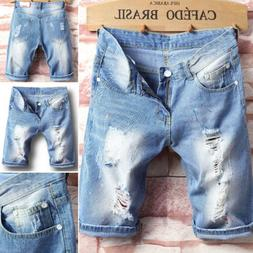 Men's Straight Slim Short Jeans Casual Pants Ripped Skinny D
