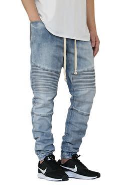 Men's Stretch Denim Biker Jogger Pants Jeans Size Available