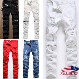 Men's Stretchy Ripped Jeans Pants Destroyed Taped Skinny Sli