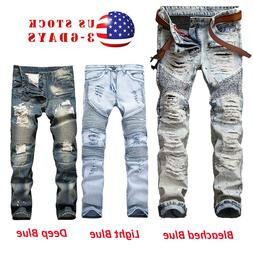 Men's Stretchy Ripped Skinny Biker Jeans Destroyed Tapered S