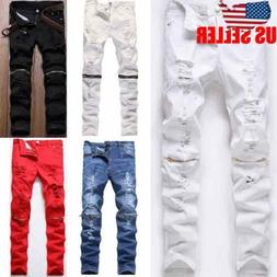 men s stretchy ripped skinny biker jeans