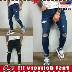 Men's Super Skinny Stretch Ripped Jeans Slim Fit Distressed