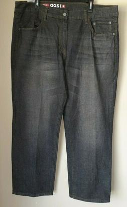 IZOD men's sz 42X30 relaxed fit straight leg color grey jean